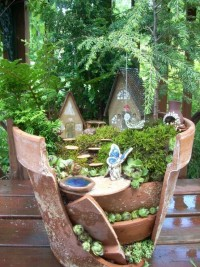 gardens / Fairy Garden Broken Planter Kit by laughingorangestudio on Etsy, $120.00