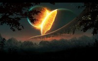 mountains,nature mountains nature outer space trees stars futuristic planets buildings collision 1920x1200 wallpap – Space Wallpaper – Free Desktop Wallpaper