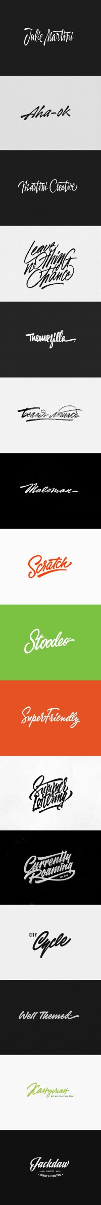 Recent logos and t-shirt letterings