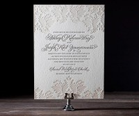 Letterpress Wedding Invitations | Damask Design | Bella Figura Letterpress