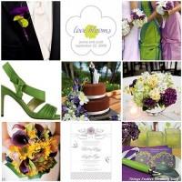 Things Festive Wedding Blog: Purple, Green & Yellow Wedding Color Palette