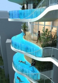 Glass Balcony Pools for Indian Luxury Condo Building
