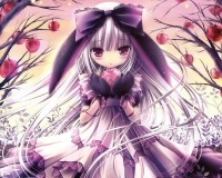 trees,animal ears trees animal ears anime white hair purple eyes bunny ears lolita fashion tinkle illustrations apples – Apple Wallpaper – Free Desktop Wallpaper