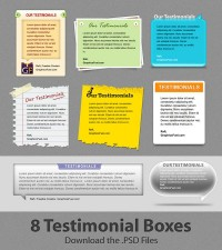 Download attractive client testimonial boxes psd layered material_Templates_allfreebrush