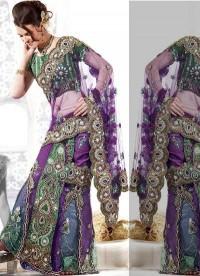 Stylish And Elegant Designer Embroidered Lehenga Style Saree - Sarees - Women