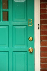 The Blue House: teal front door