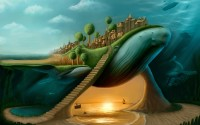Download Wallpapers, Download 1920x1200 cave surreal stairways town whales digital art seas underwater 1920x1200 wallpaper Wallpaper –Free Wallpapers Download