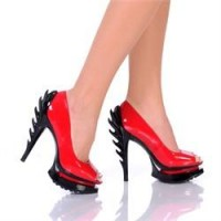 "5"" Exclusive Flame Heel Design On Three Piece Platform ""hh - Flame 21"""