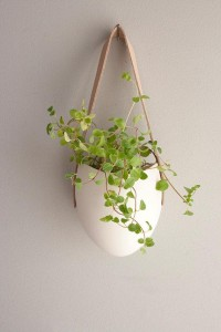 porcelain and leather hanging planter by farrahsit on Etsy