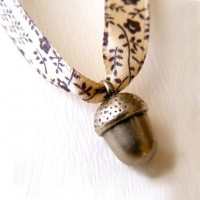 Necklace with a little acorn on satin ribbon by acornisborn
