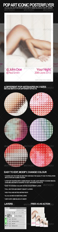 Print Templates - Pop Art Iconic A3, A4 Poster and A6, A5 Flyer | GraphicRiver