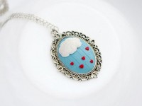 Cute Heart Rain Pendant Cloud Heart Necklace Rain by KatrinSArt