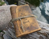 Rustic leather journal personalized guest book with by crearting