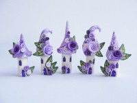 Fairy house polymer clay village miniature in lilac by fizzyclaret