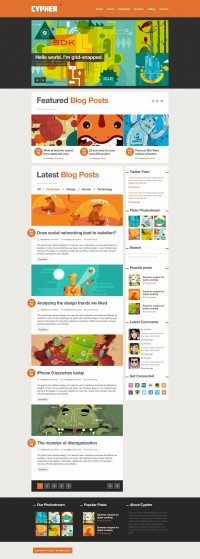 Cypher - A bold Blog / News .PSD theme - ThemeForest Previewer