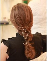 Bridal Hair Vine Pearl Leaf & Crystal on Silver by merrittgade