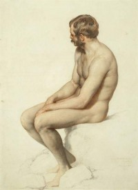 Academy Study, Crayon on paper - William ... | The Best Nude - painti…