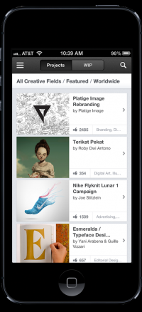 Behance Official iPhone App 2.0 on