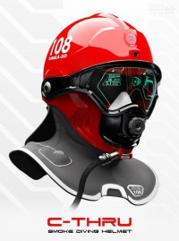 C-Thru; Smoke Diving Helmet on