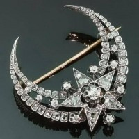 celestial / Victorian crescent moon and star brooch with rose and mine cut diamonds, c. 1870