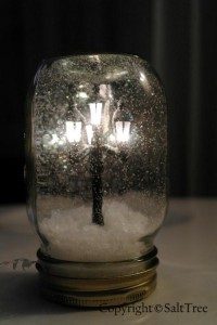 Christmas is cancelled! I told Santa you were good this year and he died laughing / Mini lamppost snow globe how-to. It's like Narnia in a jar!