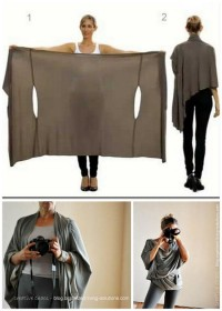 DIY Ideas / DIY Two Tutorials for the Bina Brianca Wrap. Have you see this? It can be worn as a scarf, cardigan, poncho, blouse, shrug, stole, turtleneck, shoulder.