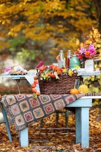 Fall picnic scene..almost makes you happy that summer is ... | Fall