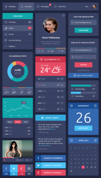 Flat Design UI Components on