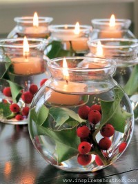 For My Crafty Side / add holly to little vases, fill with water and then add a tea-light
