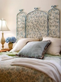 For the Home / Chic Screen Cozy up your bedroom by unfolding a fireplace screen and hanging it on the wall behind your bed as a headboard. For an antique look, use spray paint to cover the screen in blue. After it?s dry, dip a sponge in bronze paint and wipe a light coat on the screen. Repeat with copper paint. Finish with a clear spray-on sealant.