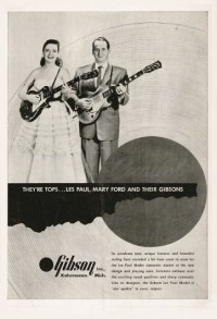 Gibson advertisement (1953). They're Tops... Les Paul, Mary Ford and — Designspiration