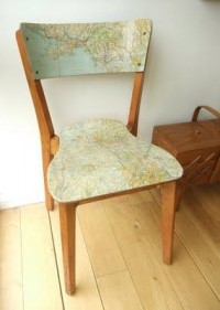 H For Home / decoupage vintage map to an old chair
