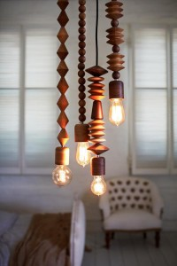 Interior design / Bright Beads Wooden Lamps by Marz Designs Photo — Designspiration