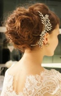 lace dress, crystal hair piece, messy updo | wedding