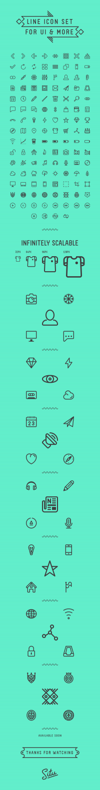 Line icon set for UI & more // Infinitely scalable on