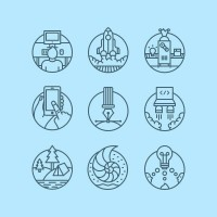 Logo / icons / Badges / Fullset actualpixels — Designspiration