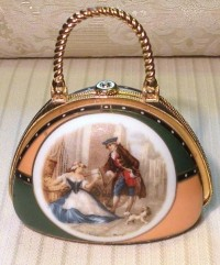 Lovely Stuff I do not own / Vintage Porcelain Purse Pill Box Vanity Accessory