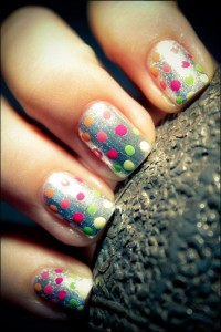 Nails? / neon spots with a silver base