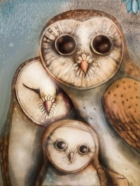 Owls / three wise owls by Karin Taylor