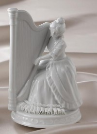 pottery,glass & stuff / porcelain harp music box