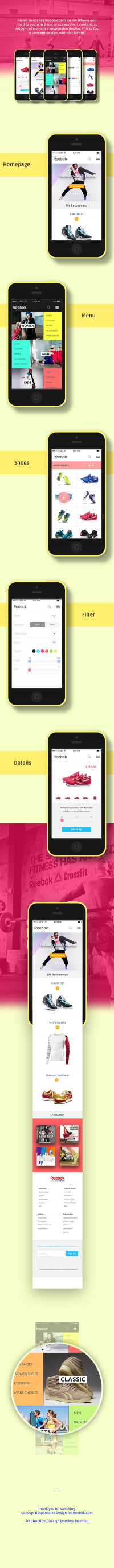 Reebok Mobile Site on
