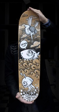 Skateboard Markers Art on