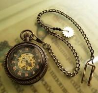 Steampunk / Dark Skeleton Pocket Watch on a Pocket Watch by OWLandHOURGLASS