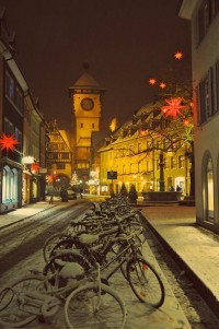The kind of world I want to see / Germany Christmas time with bicycles and snow, Freiburg.