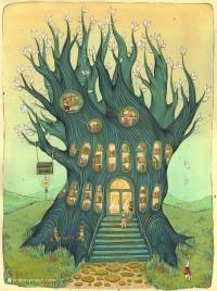 Tree Illustration / Tree-Library / Árbol-biblioteca (ilustración de Nicole Gustafsson)