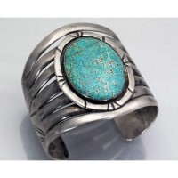 turquoise / Vintage Native American Navajo EARLY #8 Turquoise Silver Bracelet