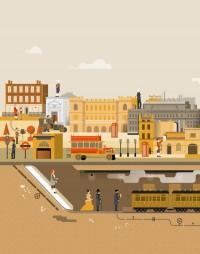 Vintage illustration - London secrets and inventions on
